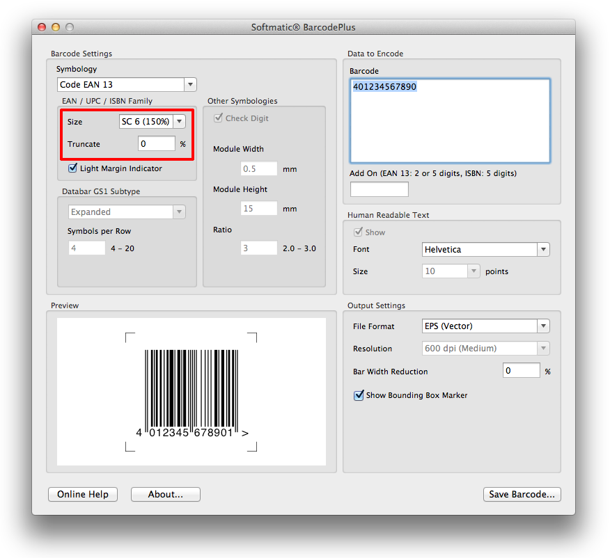 EAN SC Sizes in Barcode Software