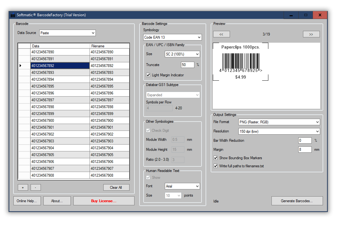 Screenshot BarcodeFactory EAN Excel Import