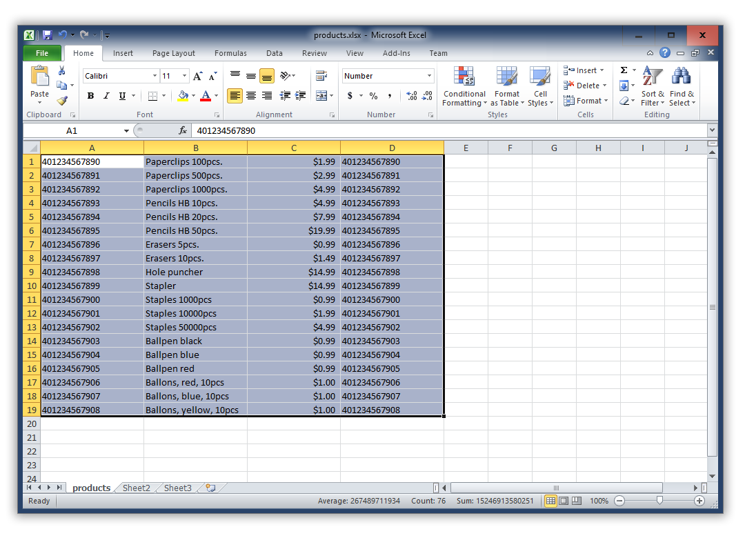 Screenshot Excel Product Table