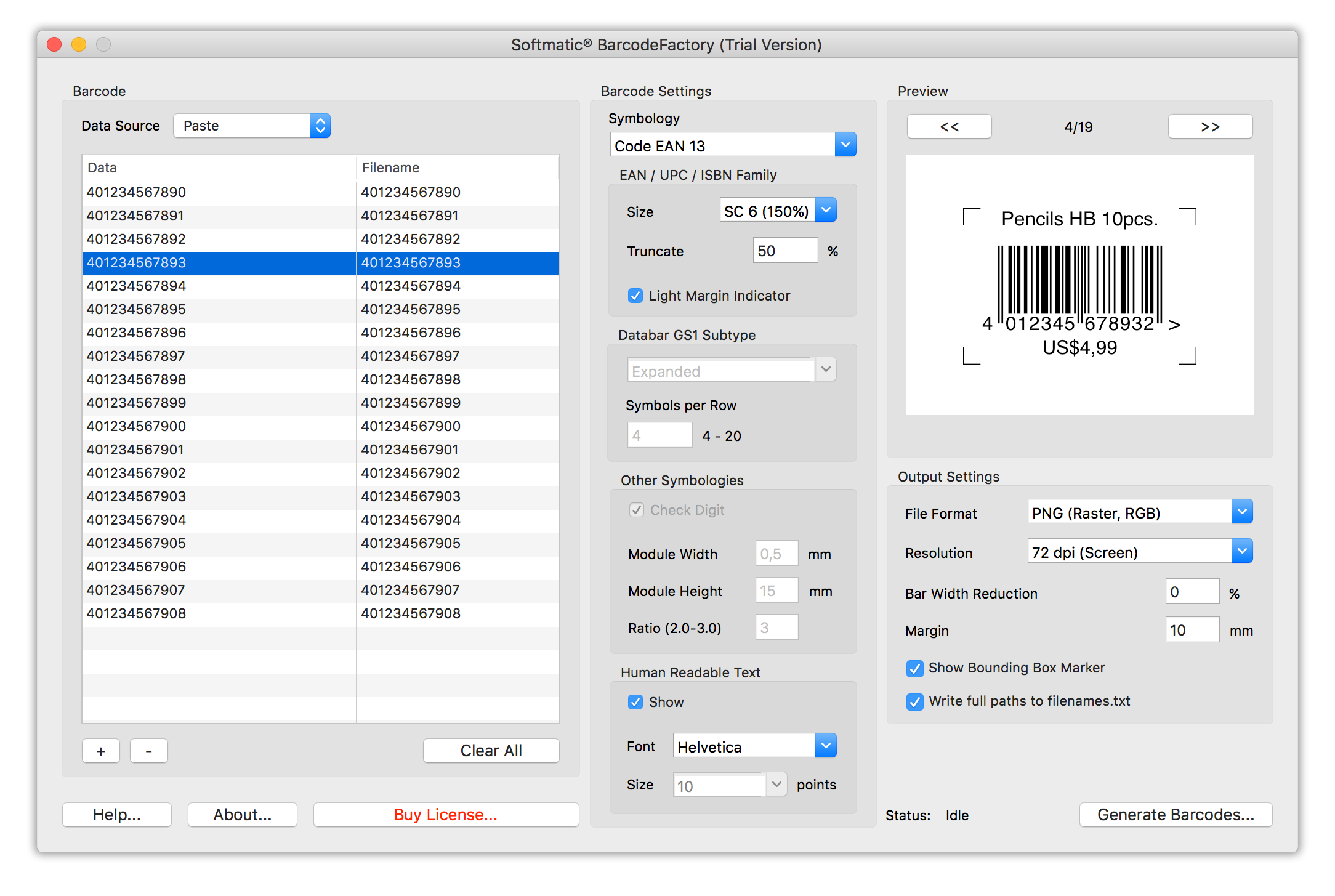 Batch Barcode Generator for Mac & PC, Serial Barcode Maker