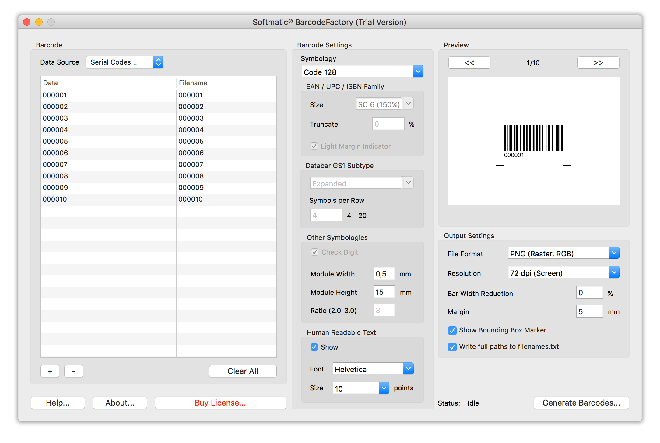 Screenshot Barcode Factory Sequence Code 128