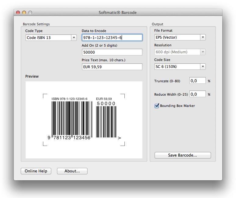 Barcode ISBN 10, Barcode ISBN 13 - International Standard