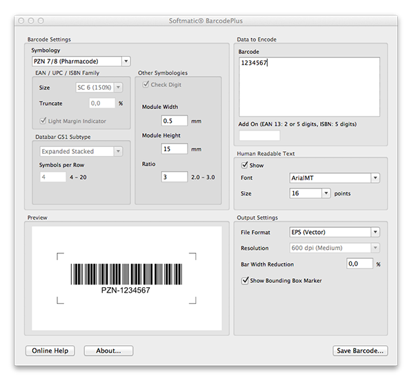 Create PZN barcode with BarcodePlus