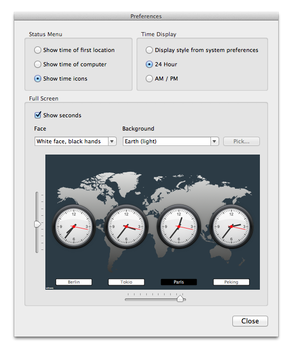 Softmatic WorldTime Clock Preferences